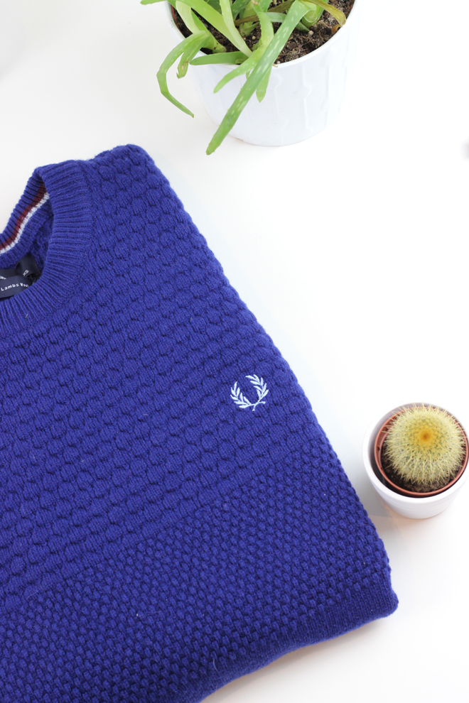 McArthur Glen Christmas Gift Ideas for Him  -  Navy Fred Perry Knitted Jumper