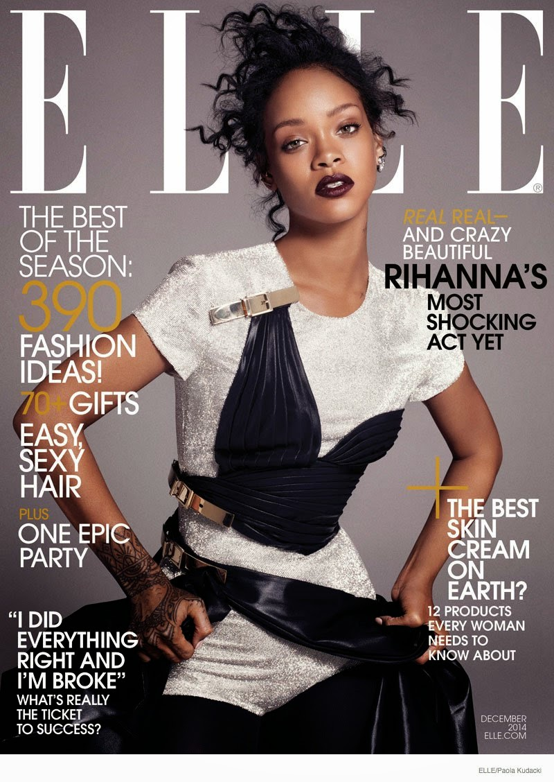 Rihanna wears Haute Couture looks for Elle US December 2014