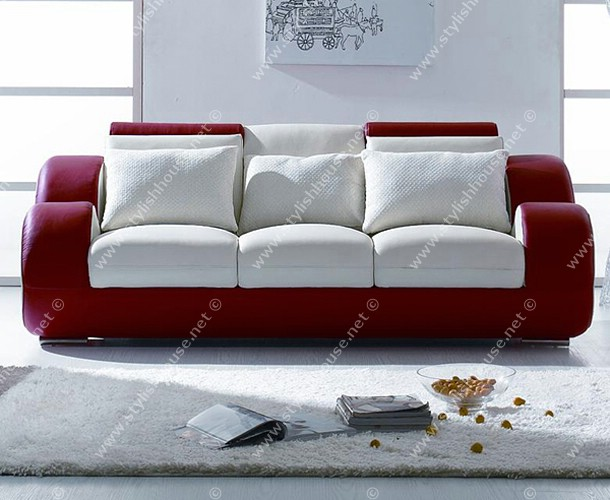 Main settee of living room in  red and white composition