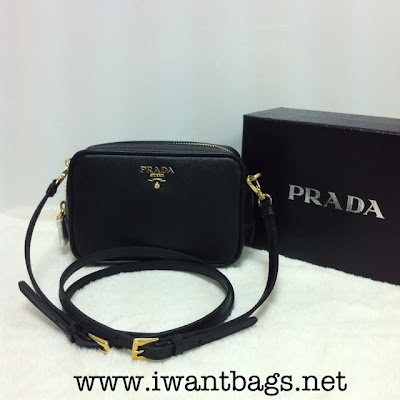 Prada 1N1674 Saffiano Leather Small Shoulder Bag- Black