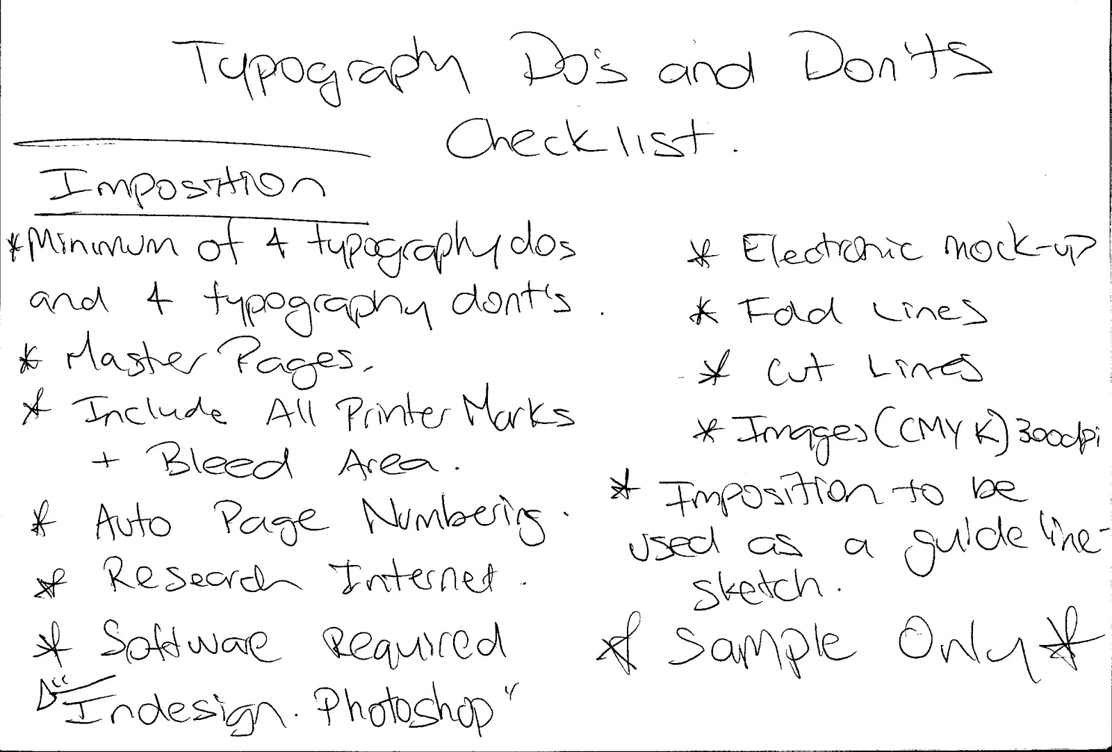 TYPOGRAPHY DO's AND DONT's CHECKLIST