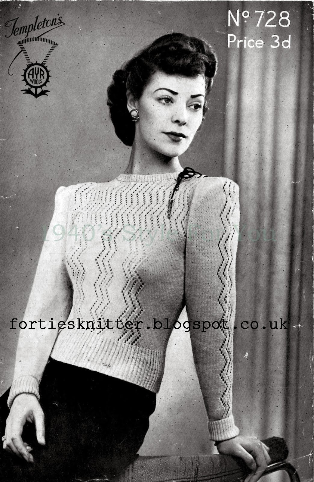 1940's Knitting - Neat and Practical Jumper free pattern