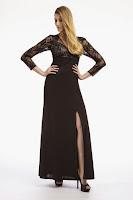 Rochie de seara eleganta, marca Dynasty, din jerse fin si dantela neagra (Dynasty)