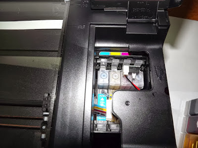 ink cartridges in the printer and system