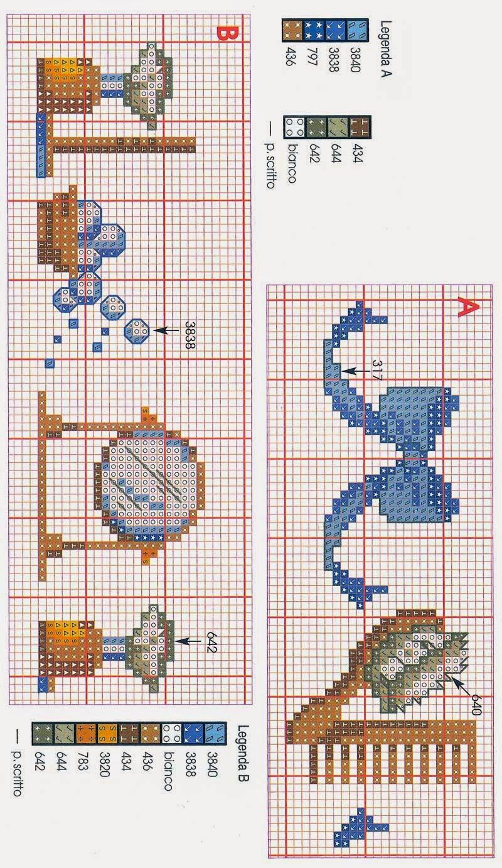Hobby lavori femminili - ricamo - uncinetto - maglia: schema punto croce bagno 13