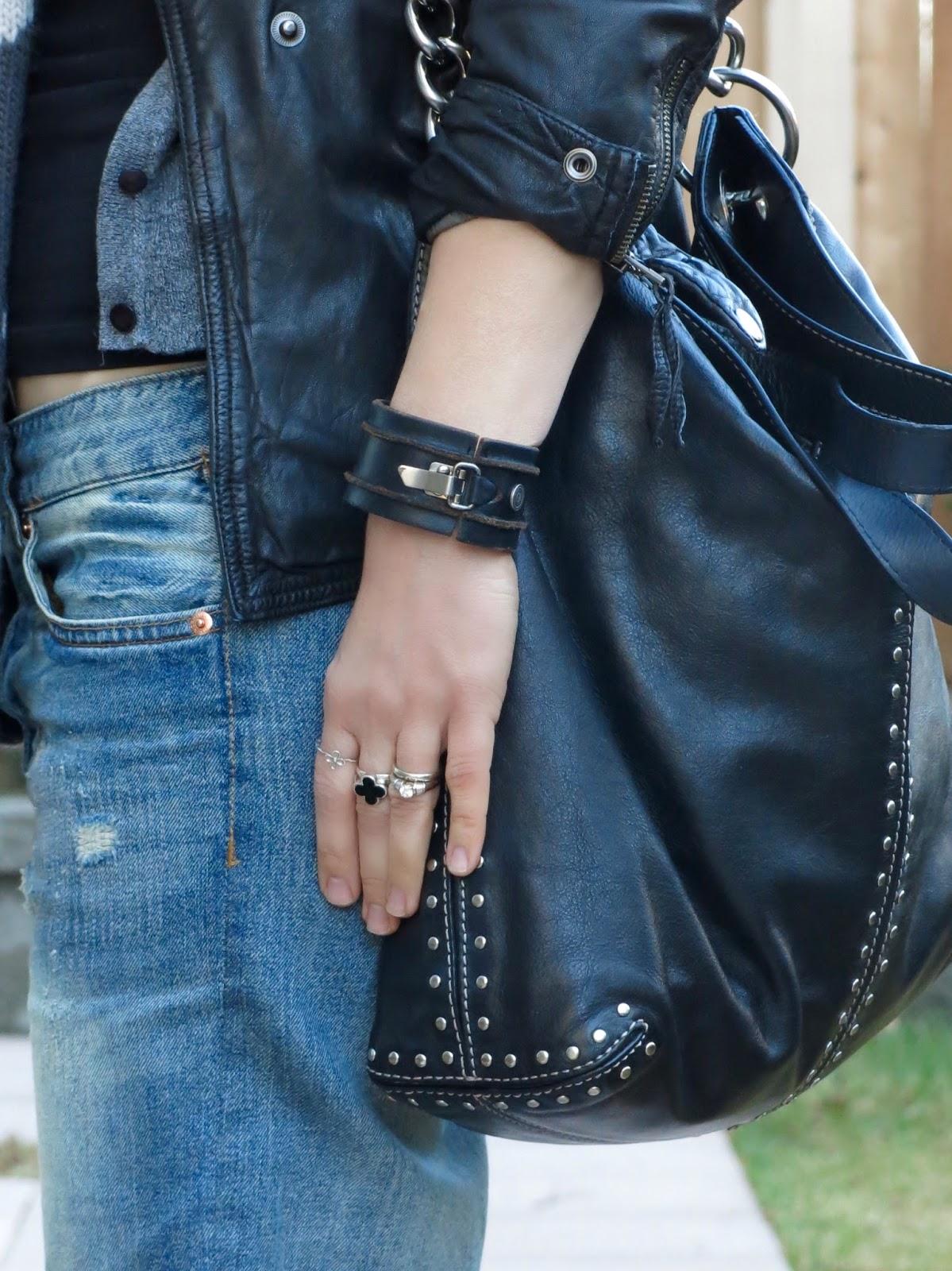 boyfriend jeans, Michael Kors stud-embellished bag