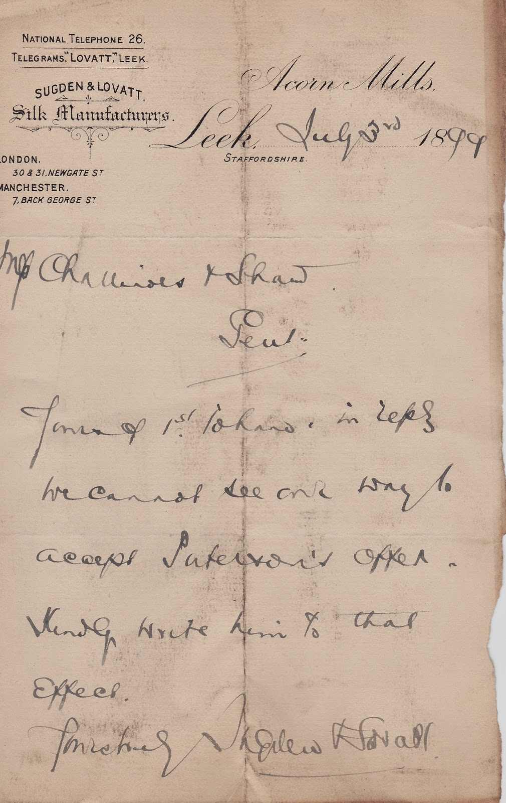 Handwritten Letter to Solicitors, Sugden & Lovatt, Leek, Staffordshire, about Paterson, 3rd August 1899