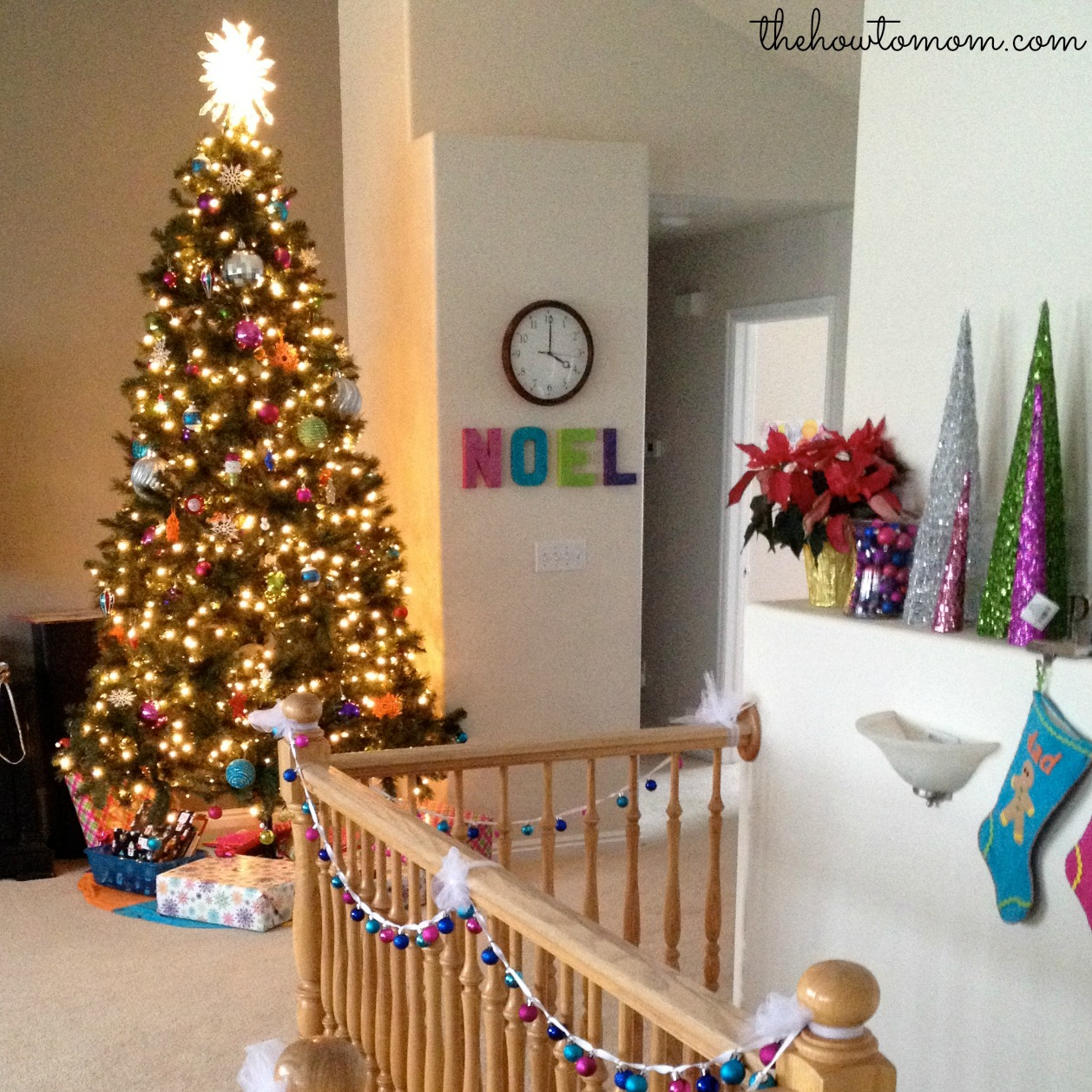 Sparkly noel cardboard letters diy the how to mom if you want another colorful christmas decor idea you can also check out my easy mini garland tutorial here solutioingenieria Image collections