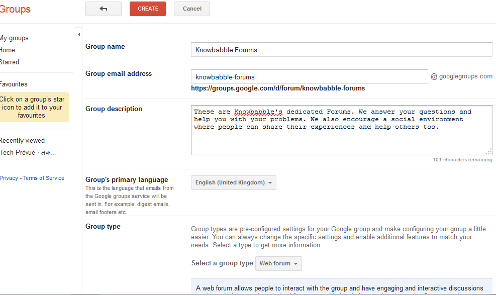 google groups settings