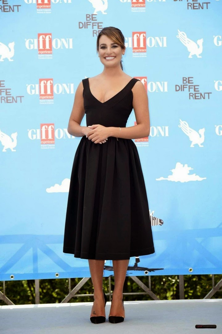 Lea Michele in a vintage inspired black dress at the 2014 Giffoni International Film Festival