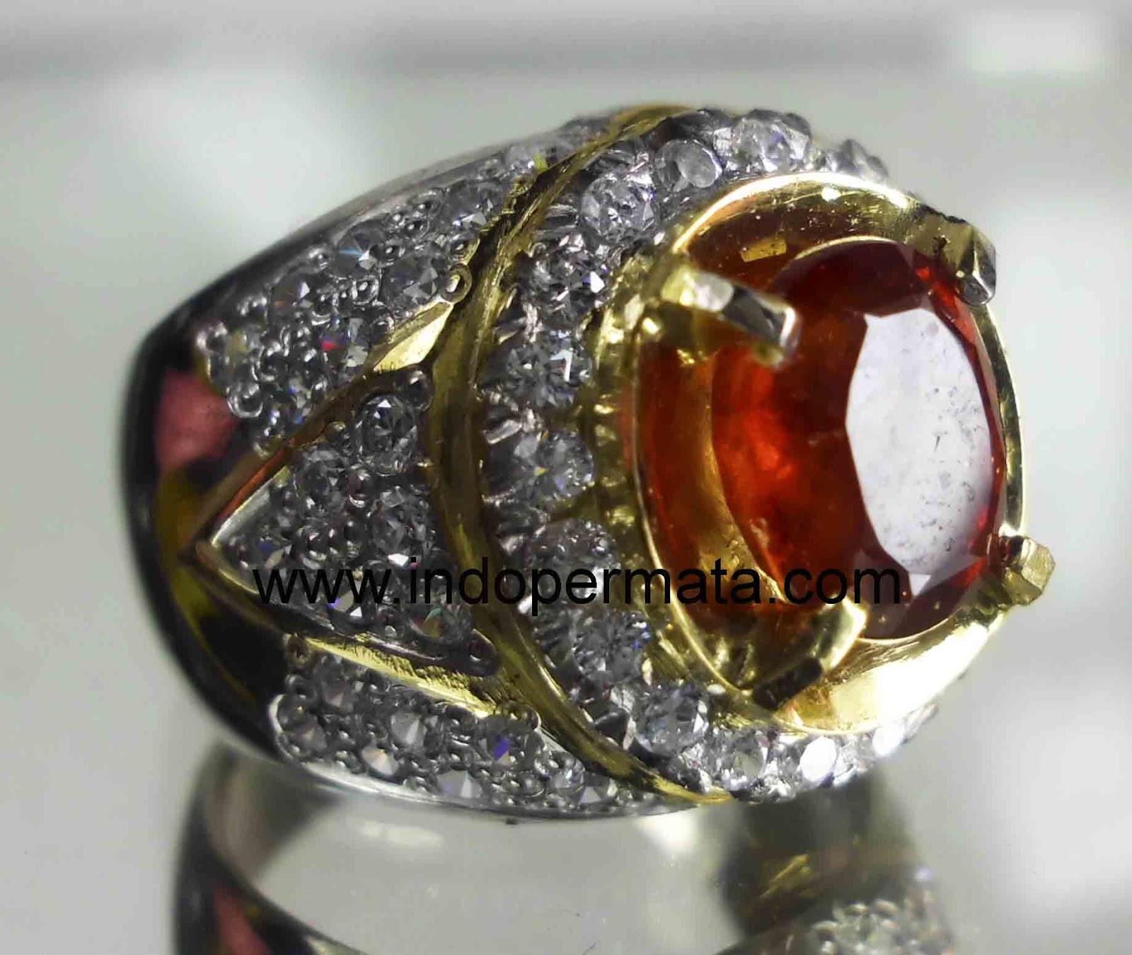 Batu permata-natural-batu mulia-spesartine-garnet-ring-silver