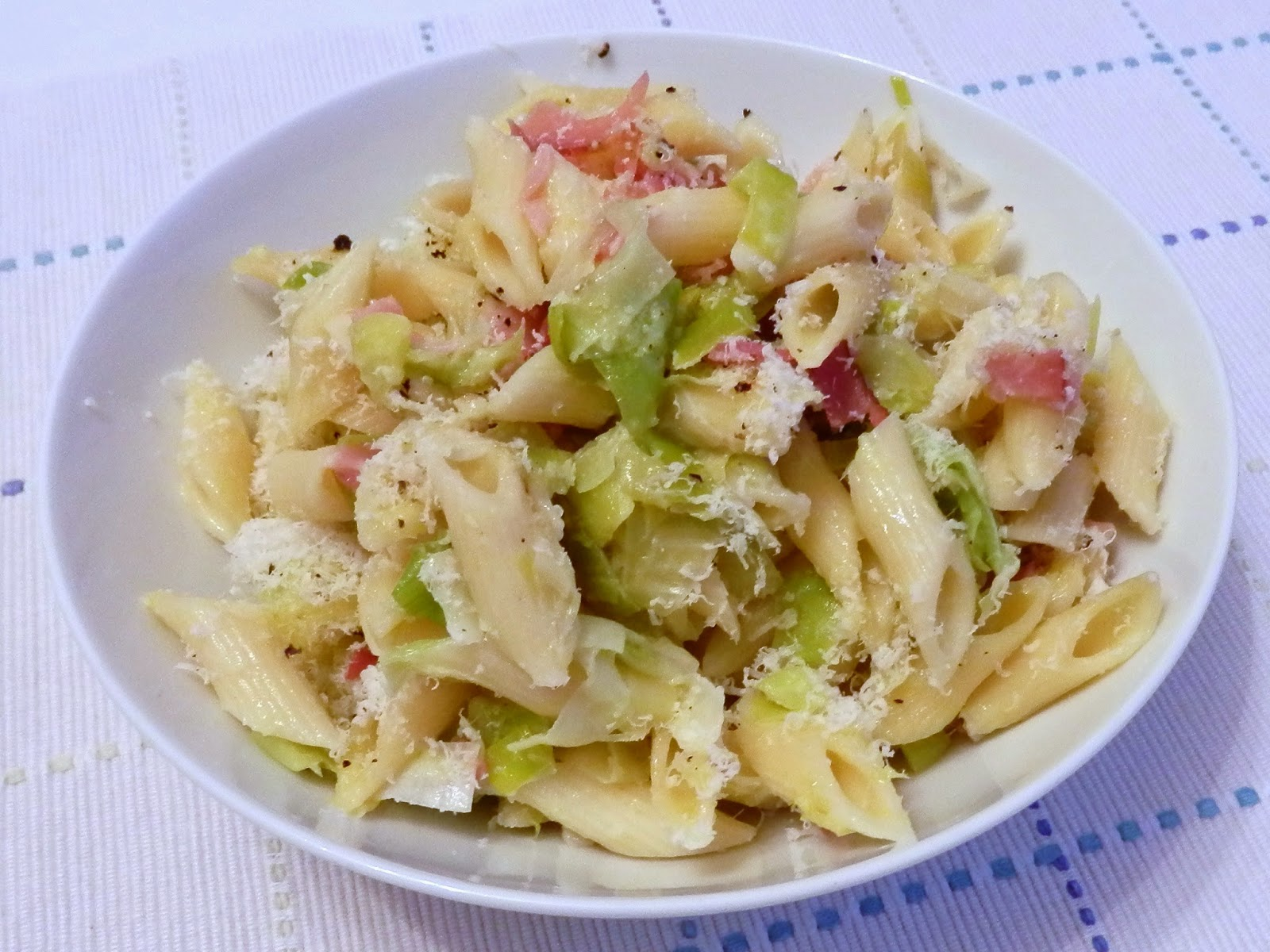 Leek and Speck Pasta