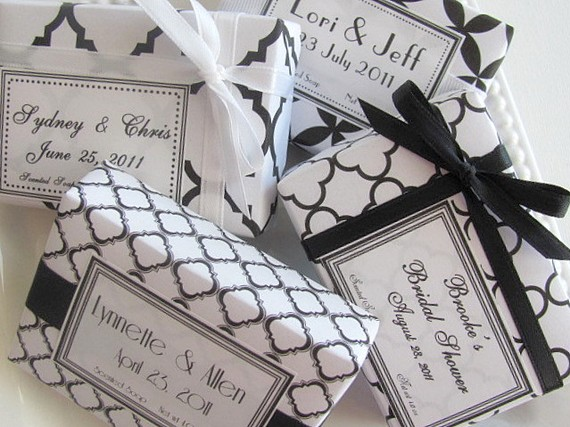 Black+white+wedding+bride+groom+soap+favors