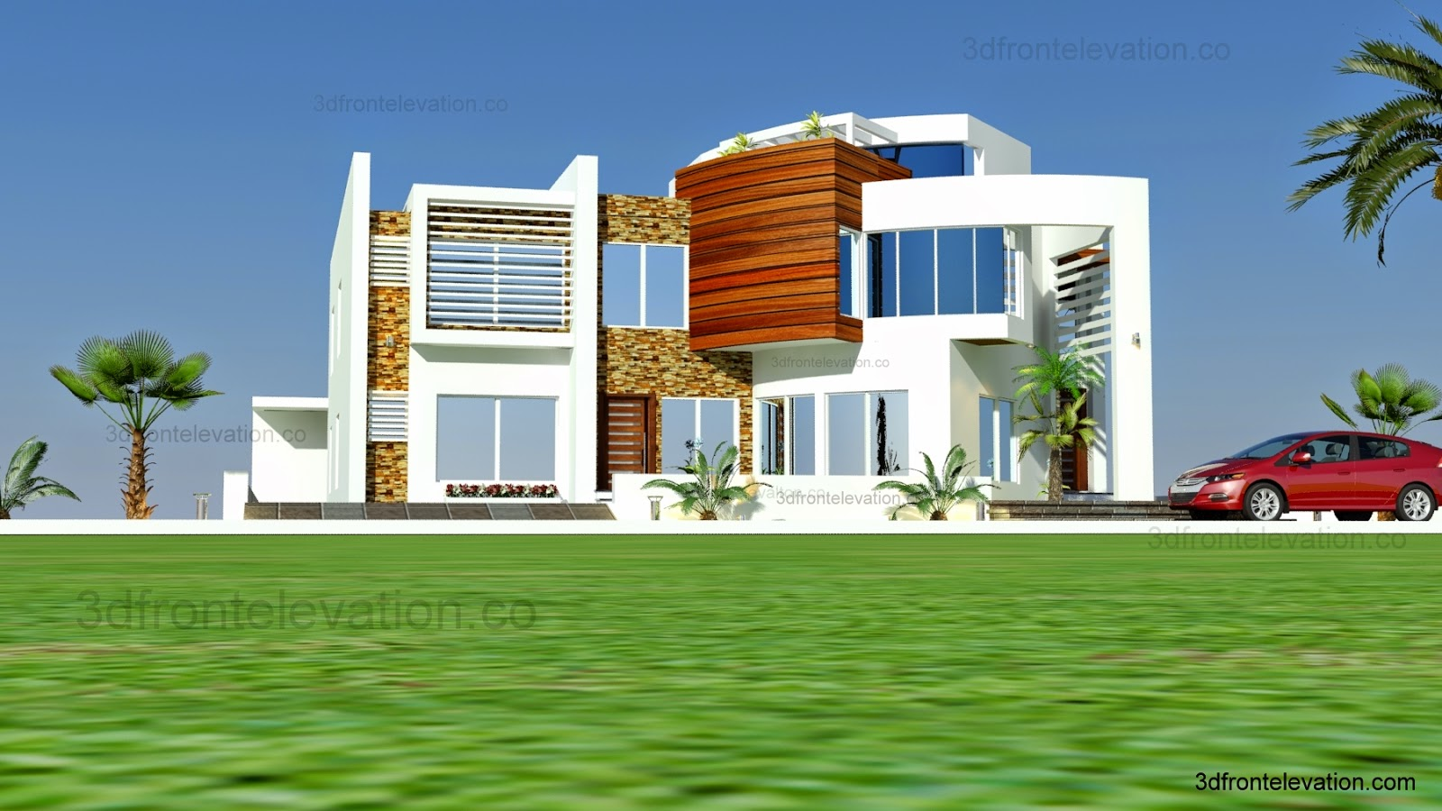 3d front oman modern contemporary villa 3d for Modern villa plans and elevations