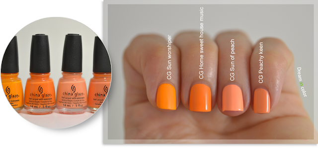 China Glaze Sun worshiper-Home sweet house music-Sun of peach-Peachy keen