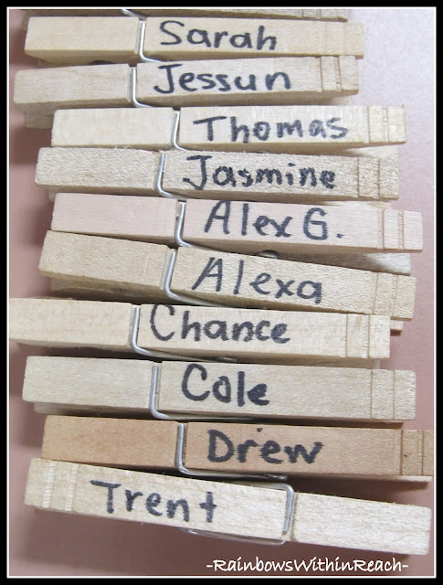 photo of: Clothes Pins Labeled with Names