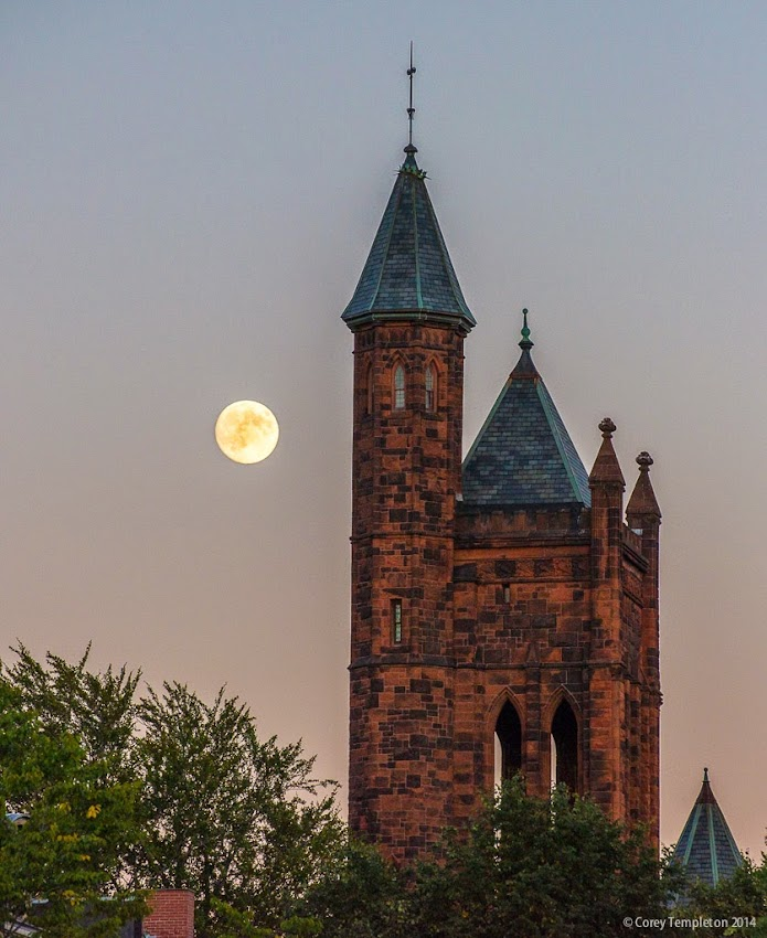 Portland, Maine USA Moon rising State Street Church steeple in the West End September 2014 photo by Corey Templeton