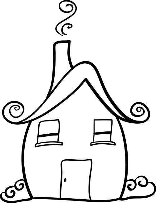 Cute doodle art home sweet home for How to draw a cute house