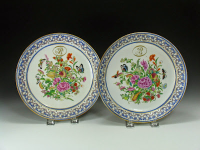Chinese Export Plates with Monogram plcombs
