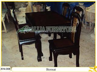Kursi dan Meja Makan Kayu Jati Ukiran Bonsai