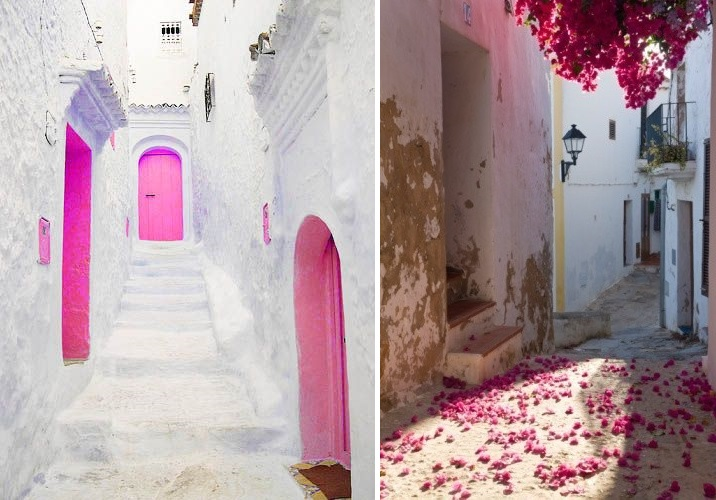 ibiza white pink doors streets blossom