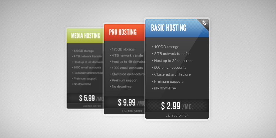 3 Pricing Tables PSD