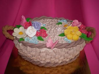 Virágkosár torta