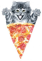 pizza cat yummy rawr meow hungry delicious pepperoni