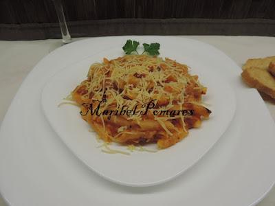 Macarrones Con Chorizo Y Tomate.
