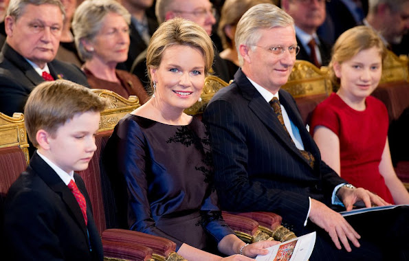 King Philippe and Queen Mathilde of Belgium, Crown Princess Elisabeth, Prince Gabriel, Prince Emmanuel and Princess Eleonore at the annual christmas concert