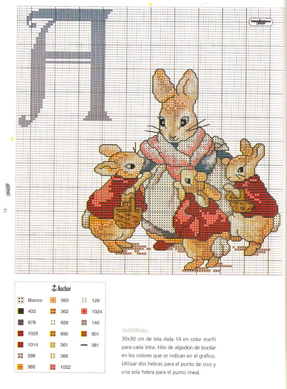 Схема для вышивки девочка с кроликом