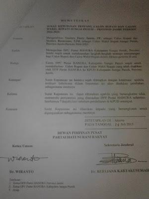 Syafriadi: Hanura Sudah Keluarkan Rekomendasi untuk Ferry Satria