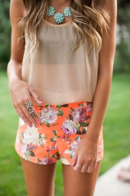 Floral shorts, chiffon top and necklace. For a perfect summer