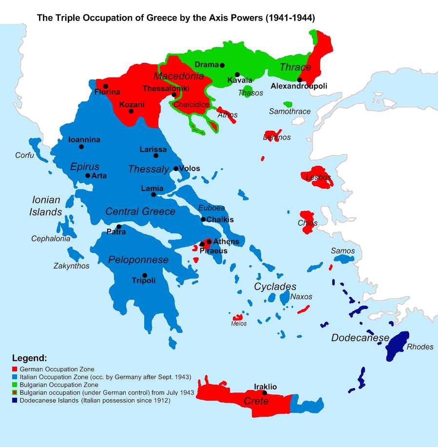 Tripple occupation of Greece by the Axis powers during World War 2