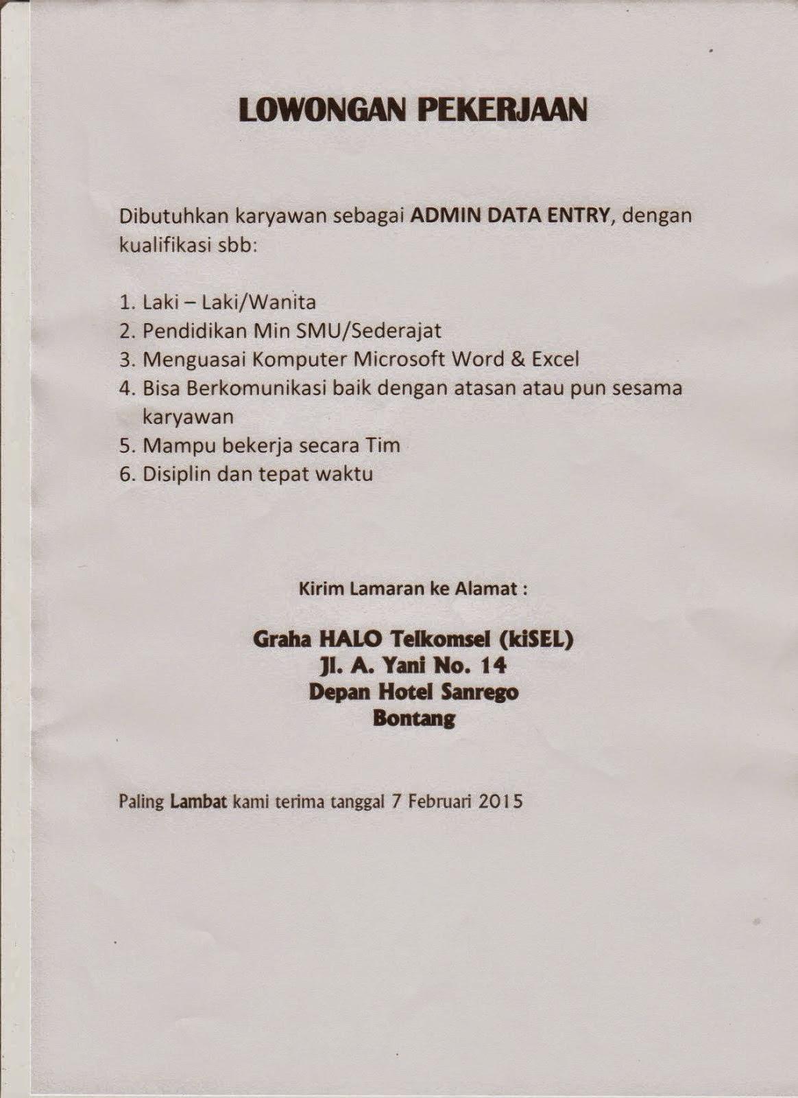 Lowongan Kerja Admin Data Entry Kisel Bontang