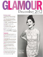 Cheryl Cole black and white photo from glamour magazine december 2012 issue