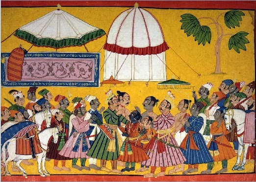 Painting, Rama is attending Sita's Swayamvar, Janaka welcoming him