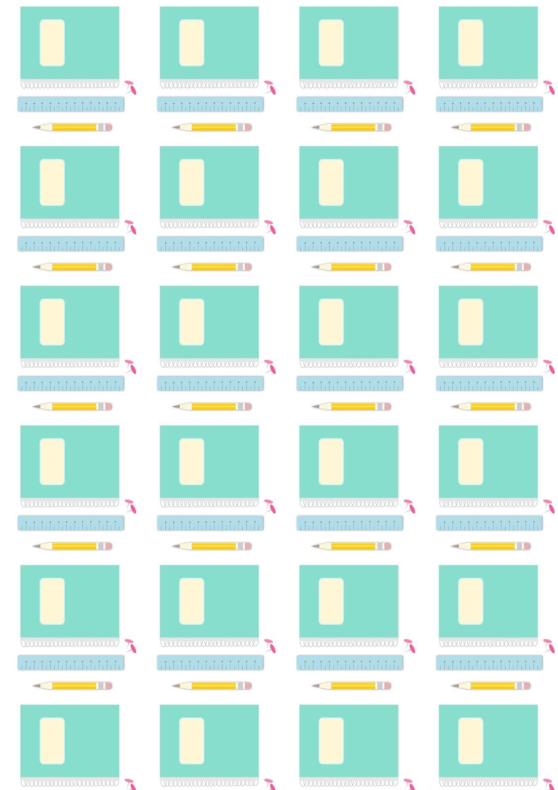 Préférence Des étiquettes crayon et un motif fournitures scolaires (à  LE23