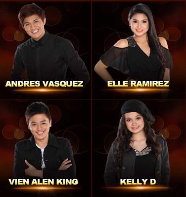 Andres Vasquez (Taguig) Elle Ramirez (Angono, Rizal) Vein Alen King (Tiaong, Quezon) Kelly D (Pasig City)