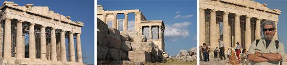 En las ruinas de la Acrópolis en Atenas, Grecia