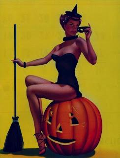 Halloween Pinup art Pumpkin Witch