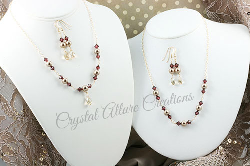 Lauren's Custom Crystal Pearl Bridesmaids Jewelry Gift Sets