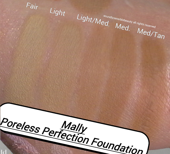 Mally Poreless Perfection Wet/Dry Powder Foundation; Review & Swatches of Shades: Fair, Light, Light/Medium, Medium, Medium/Tan, Deep