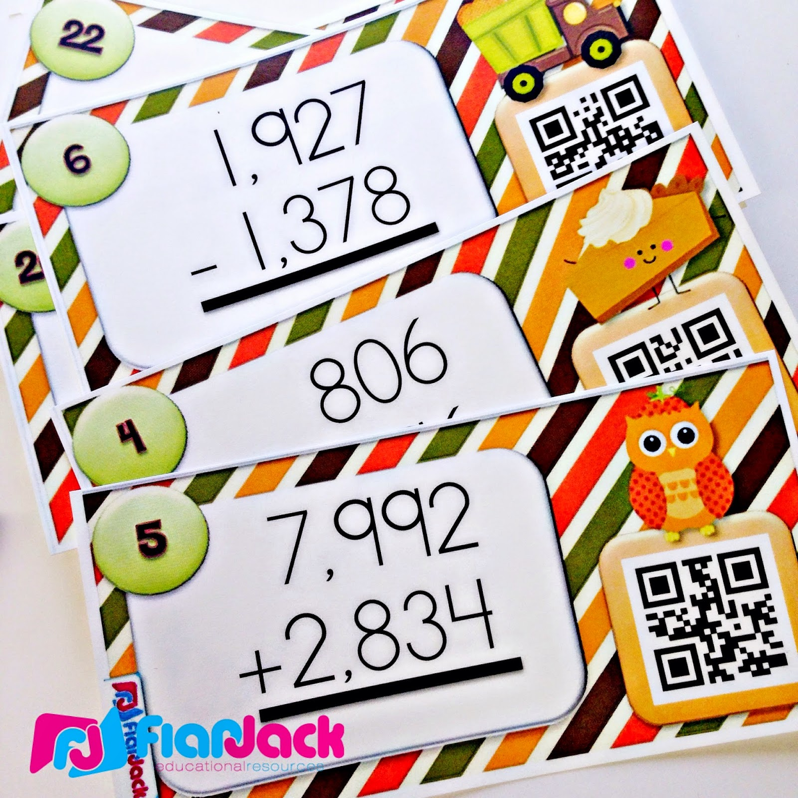 http://www.teacherspayteachers.com/Product/Funny-Fall-Multi-Digit-Addition-Subtraction-QR-Code-Task-Cards-1471572
