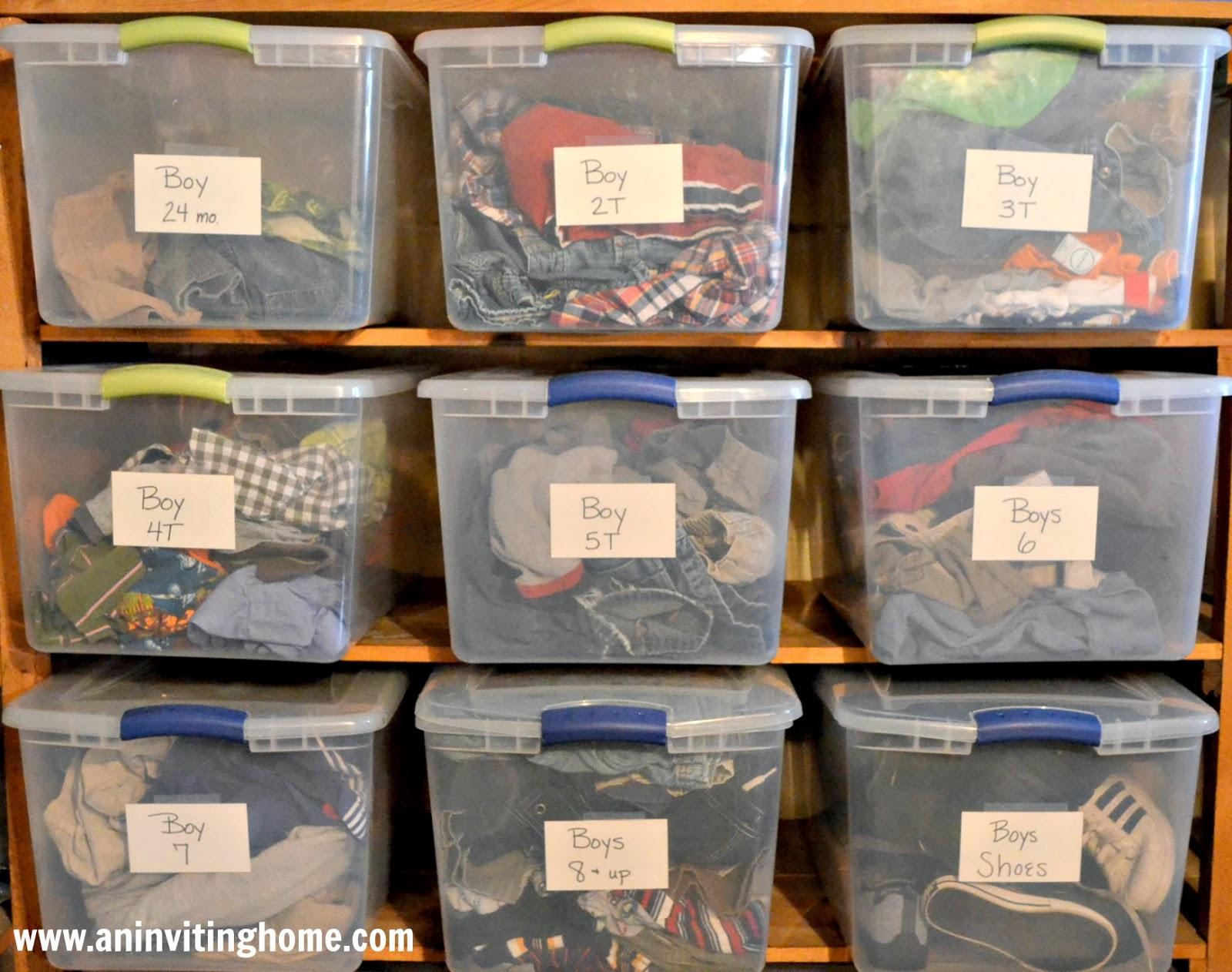 sorted clothes bins