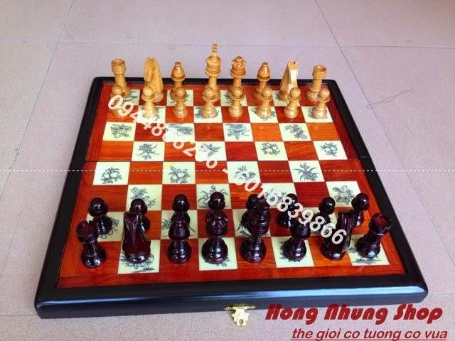 Quà tặng sếp, quà biếu sếp cao cấp – Bộ bàn cờ tướng cờ vua Gỗ &Sừng trâu 2015