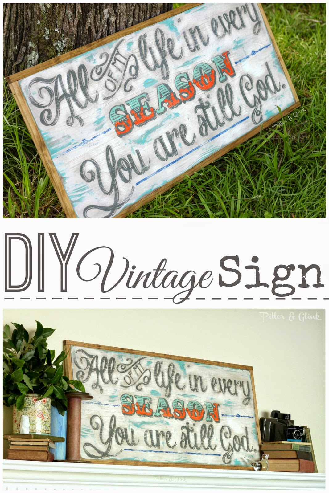 Create a vintage-looking sign from a plain wooden board pitterandglink.com #DIYart #walldecor