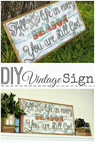 Create a vintage-looking sign from a plain wooden board pitterandglink.com #DIYart #walldecor