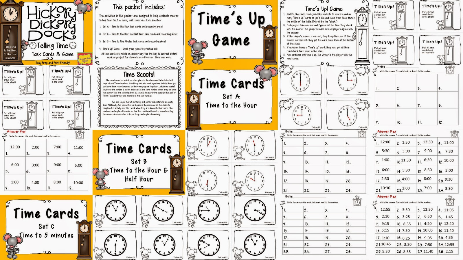 https://www.teacherspayteachers.com/Product/Hickory-Dickory-Dock-Telling-Time-Activities-and-Game-1752728