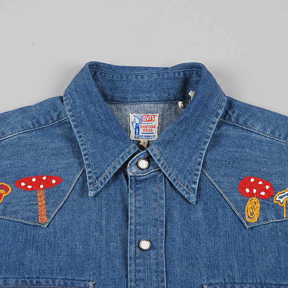 Life time gear mushroom embroidery denim western shirt for Levis vintage denim shirt 1950 sawtooth slim fit